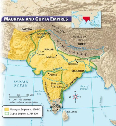 Map Maurya And Gupta Empires - World map indus river